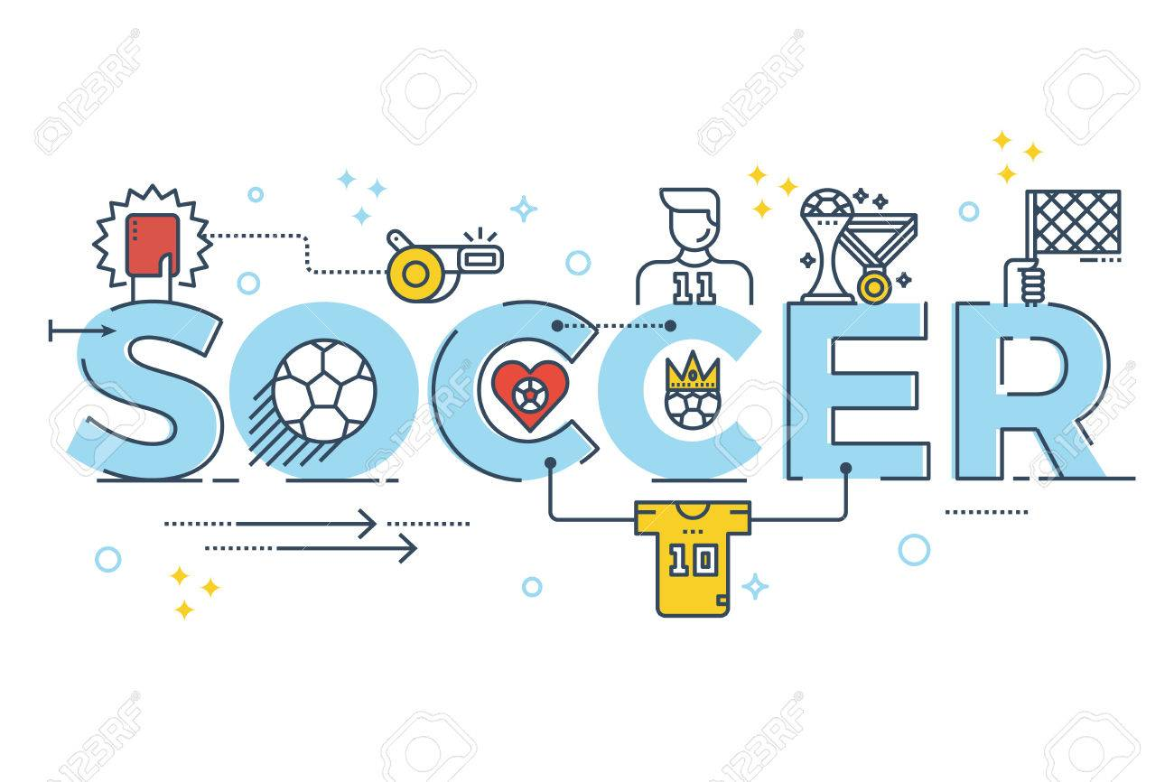 Soccer ornaments - Soccer Word Lettering Typography Design Illustration With Line Icons And Ornaments For Banner Stock Vector