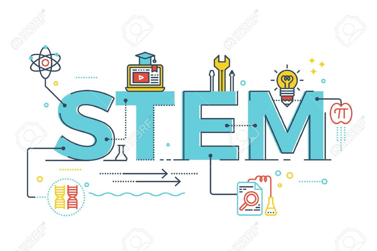 Illustration of STEM - science, technology, engineering, mathematics education word typography design with icons ornament elements - 61257238