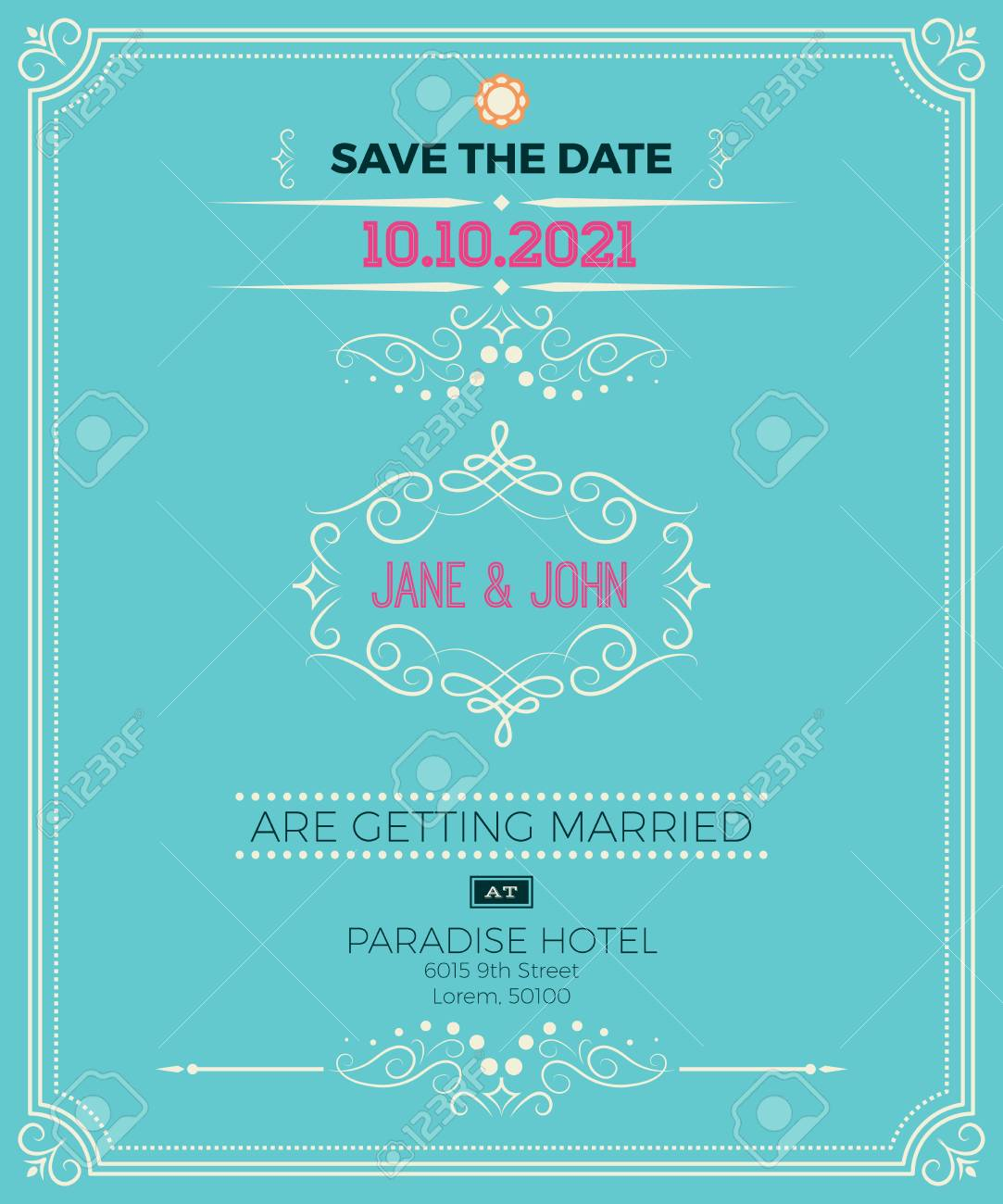 Vintage Wedding Invitation Card Template With Clean Simple - Simple wedding card template
