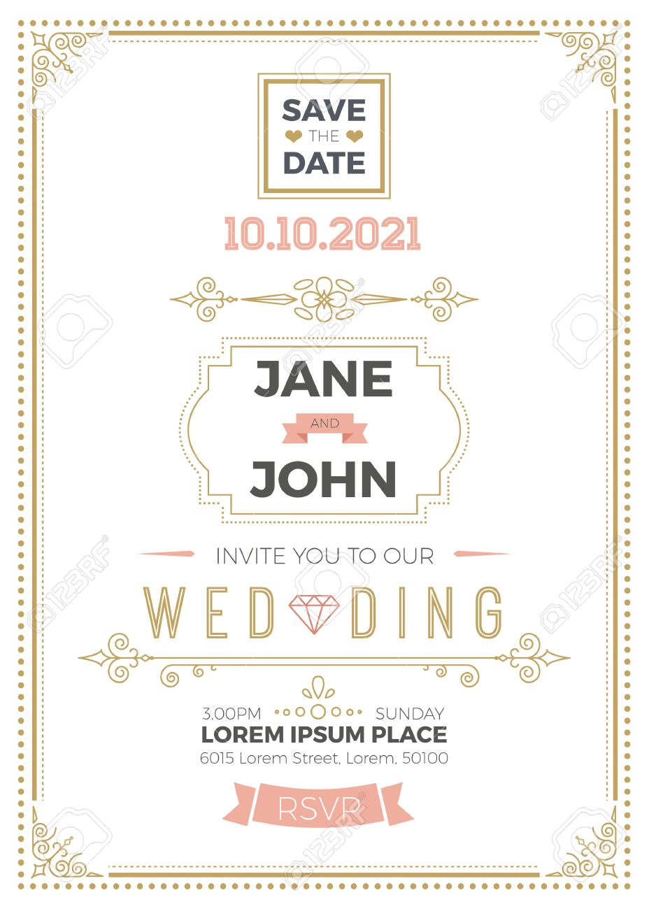 Vintage Wedding Invitation Card A5 Template With Bleed Area