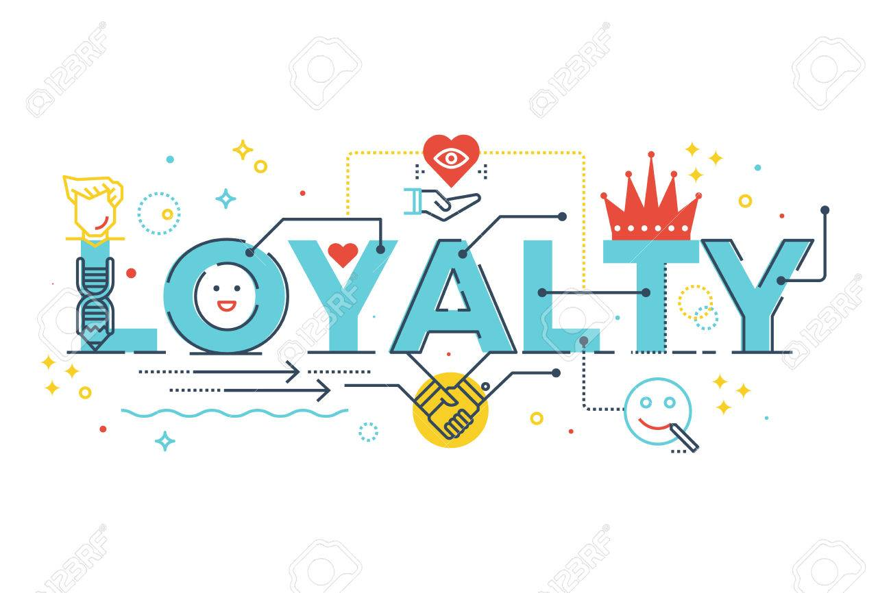 Loyalty word lettering typography design illustration with line icons and ornaments in blue theme - 63576669
