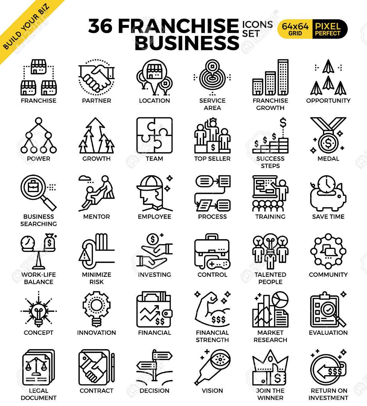 Franchise business outline icons modern style for website or print illustration - 63576667
