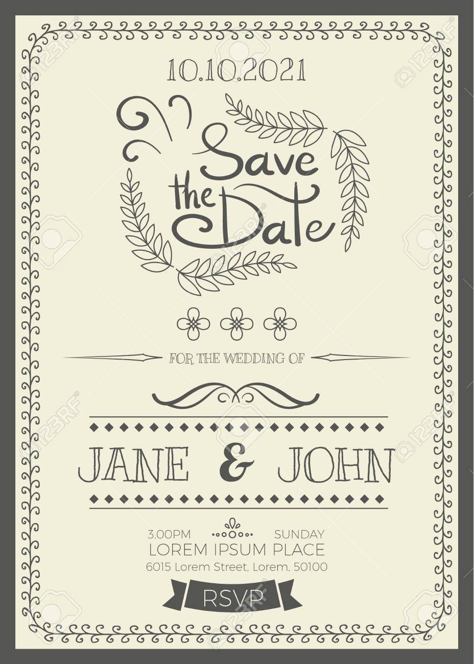 Vintage wedding invitation card a5 size frame layout template vector vintage wedding invitation card a5 size frame layout template stopboris Choice Image