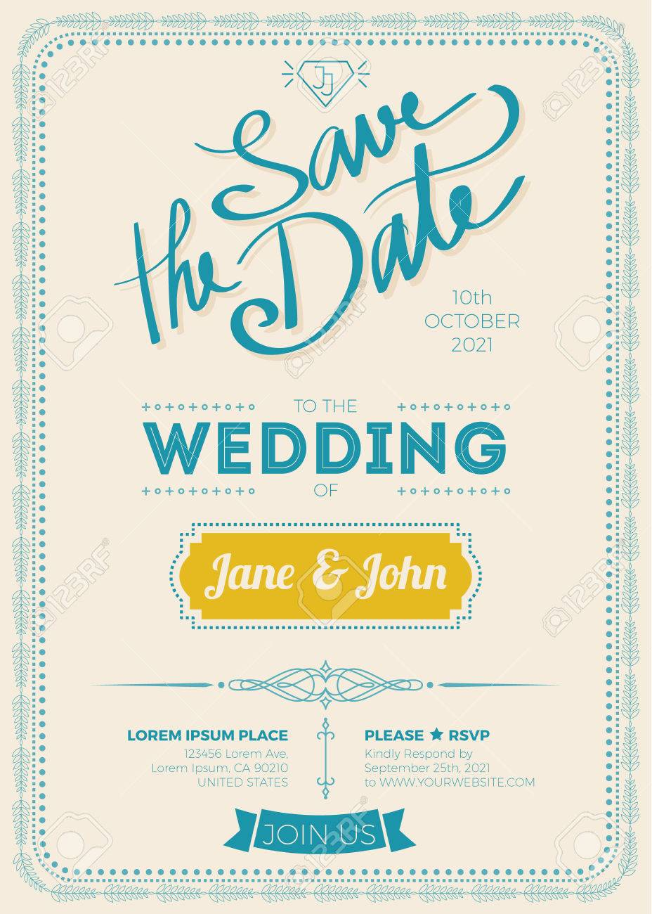 Vintage Wedding Invitation Card A5 Size Frame Layout Template ...