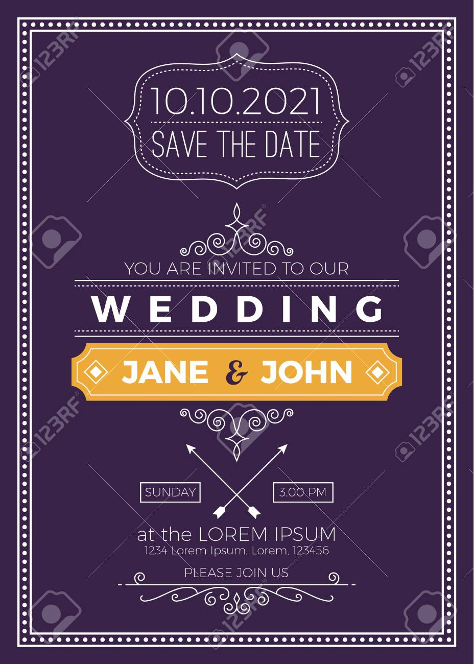 Vintage Wedding Invitation Card A5 Size Frame Layout Print Template