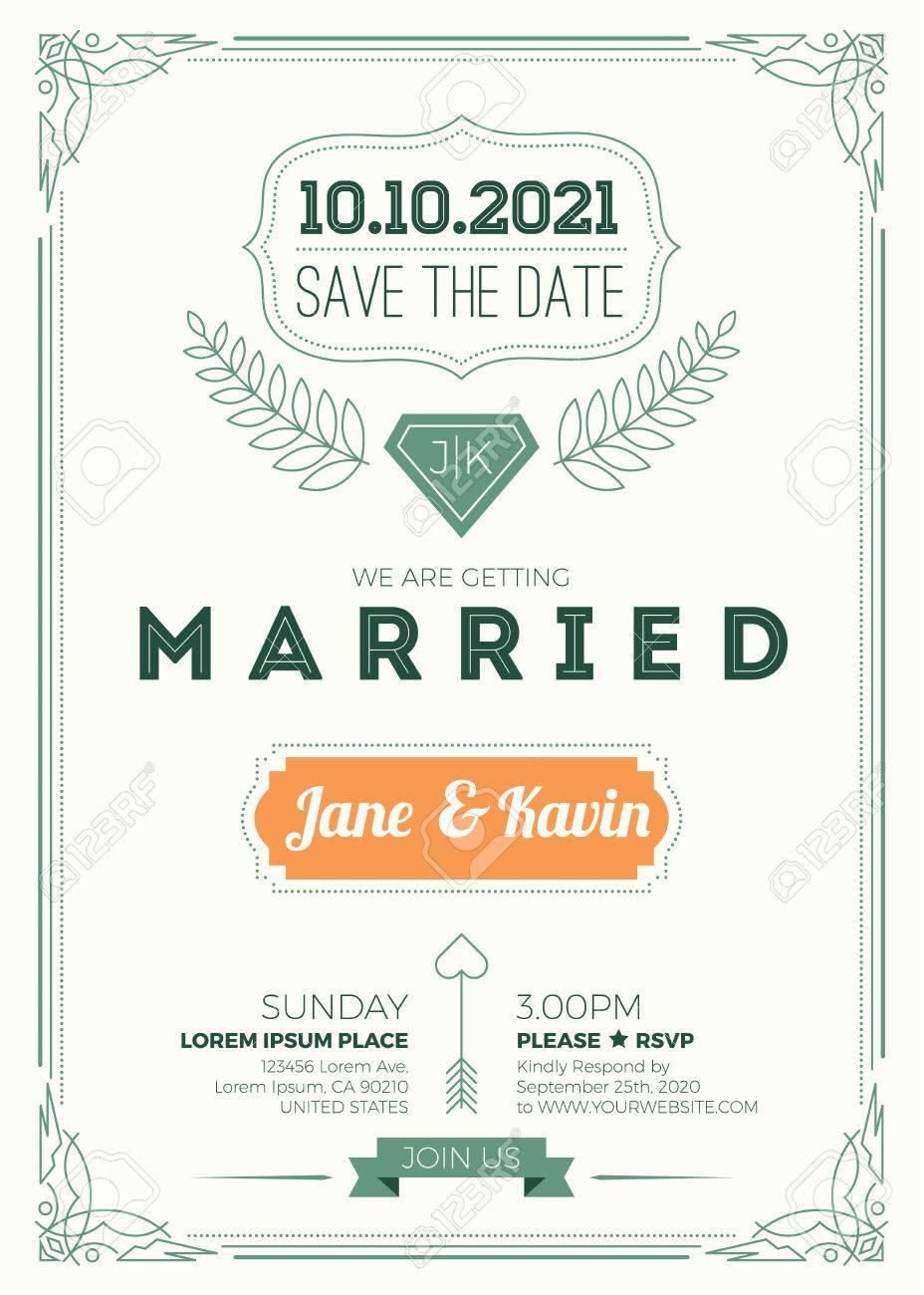 Vintage Wedding Invitation Card A5 Size Frame Layout Print – Invitation Card Size