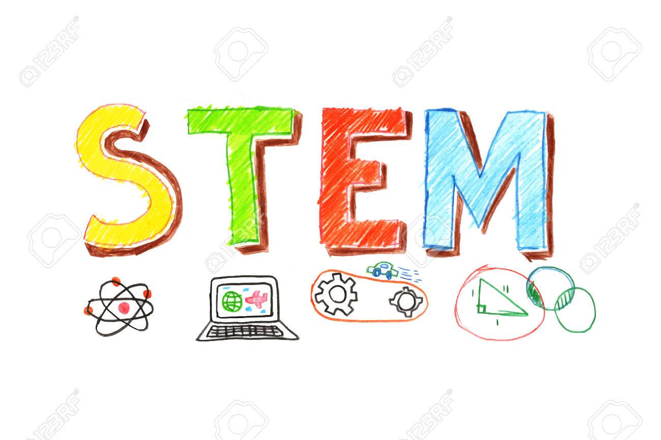 Illustration of STEM - science, technology, engineering, mathematics education word typography design in kid hand drawn style. concept for ui, ux, web, app banner design - 73487613