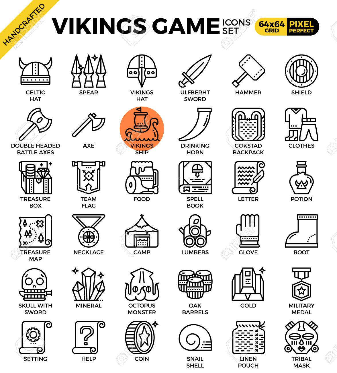 548c4f37 Fancy vikings game concept detailed line icons set in modern..