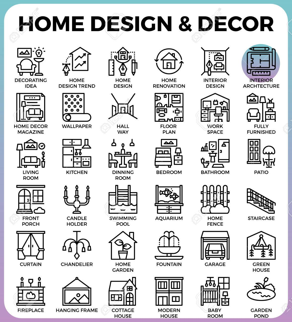Home Design And Decor Concept Detailed Line Icons Set In Modern Line Icon  Style Concept For