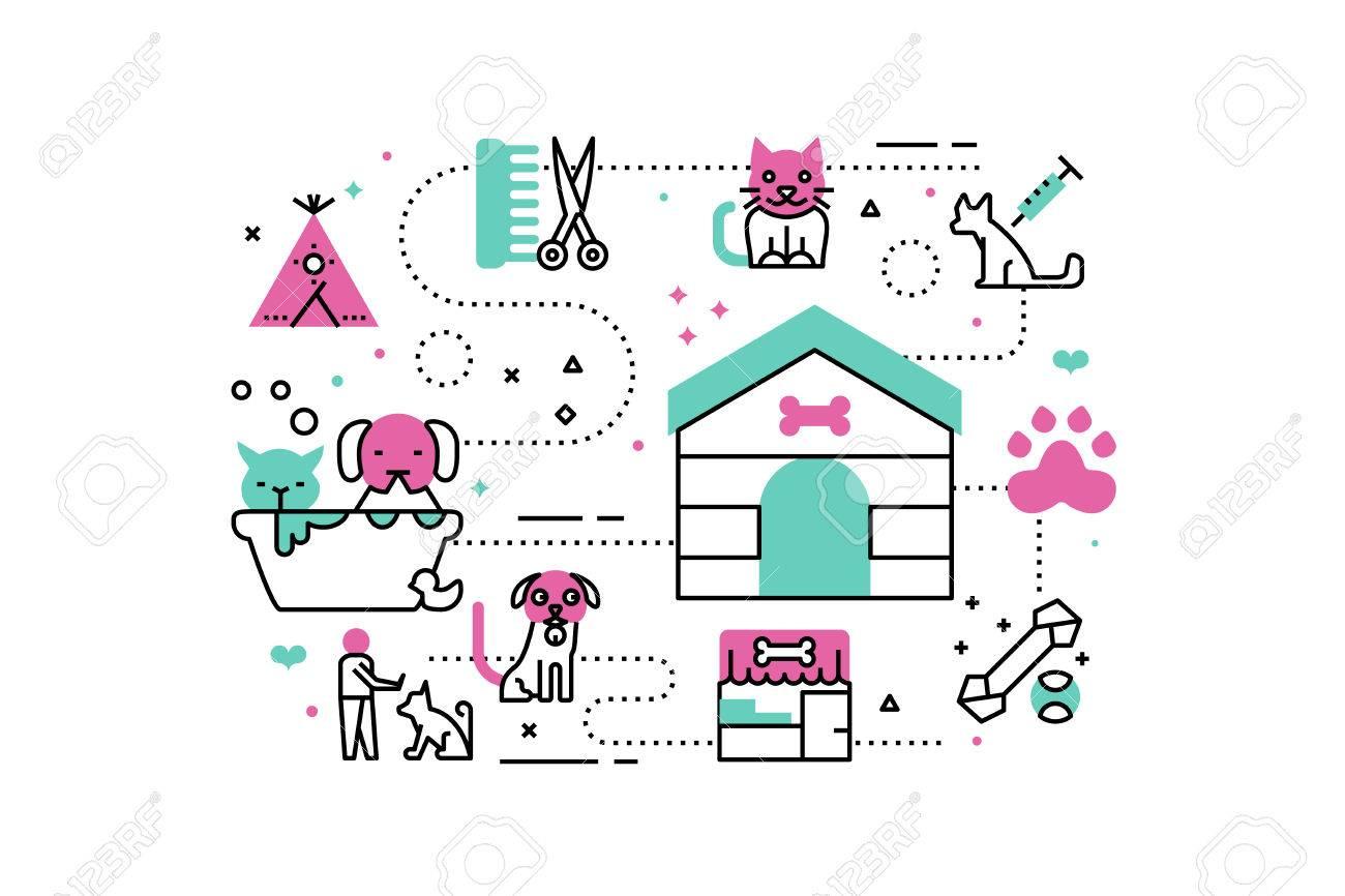 動物の避難所ライン アイコン イラスト。ウェブサイト、アプリ、web