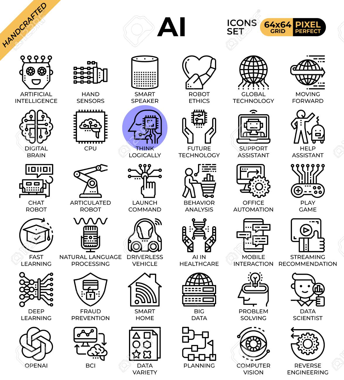 Artificial intelligence (AI) concept icons set in modern line icon style for ui, ux, web, mobile app design, etc. - 126031359