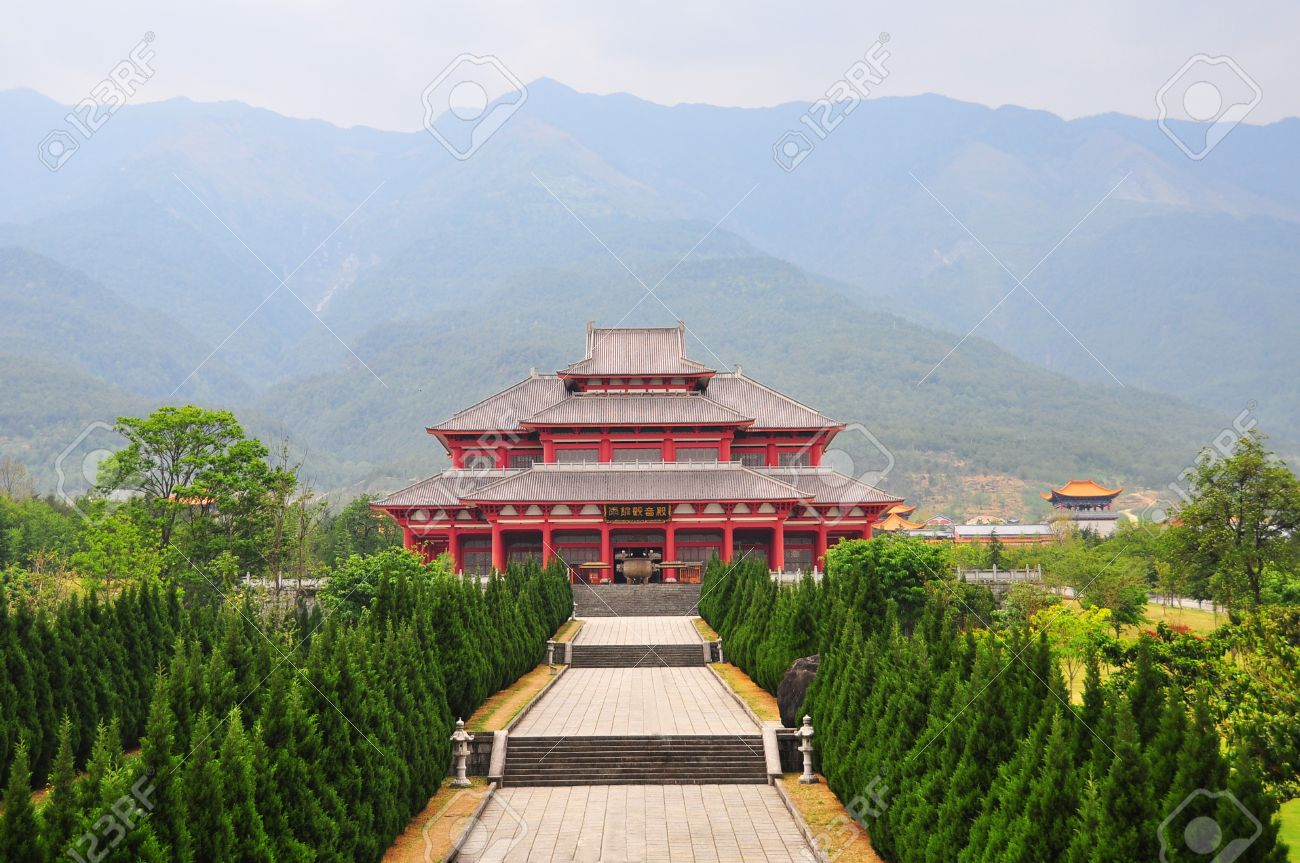 Landscape Of Chinese Famous Old Temple With Chinese Decoration Style Stock  Photo   13274259