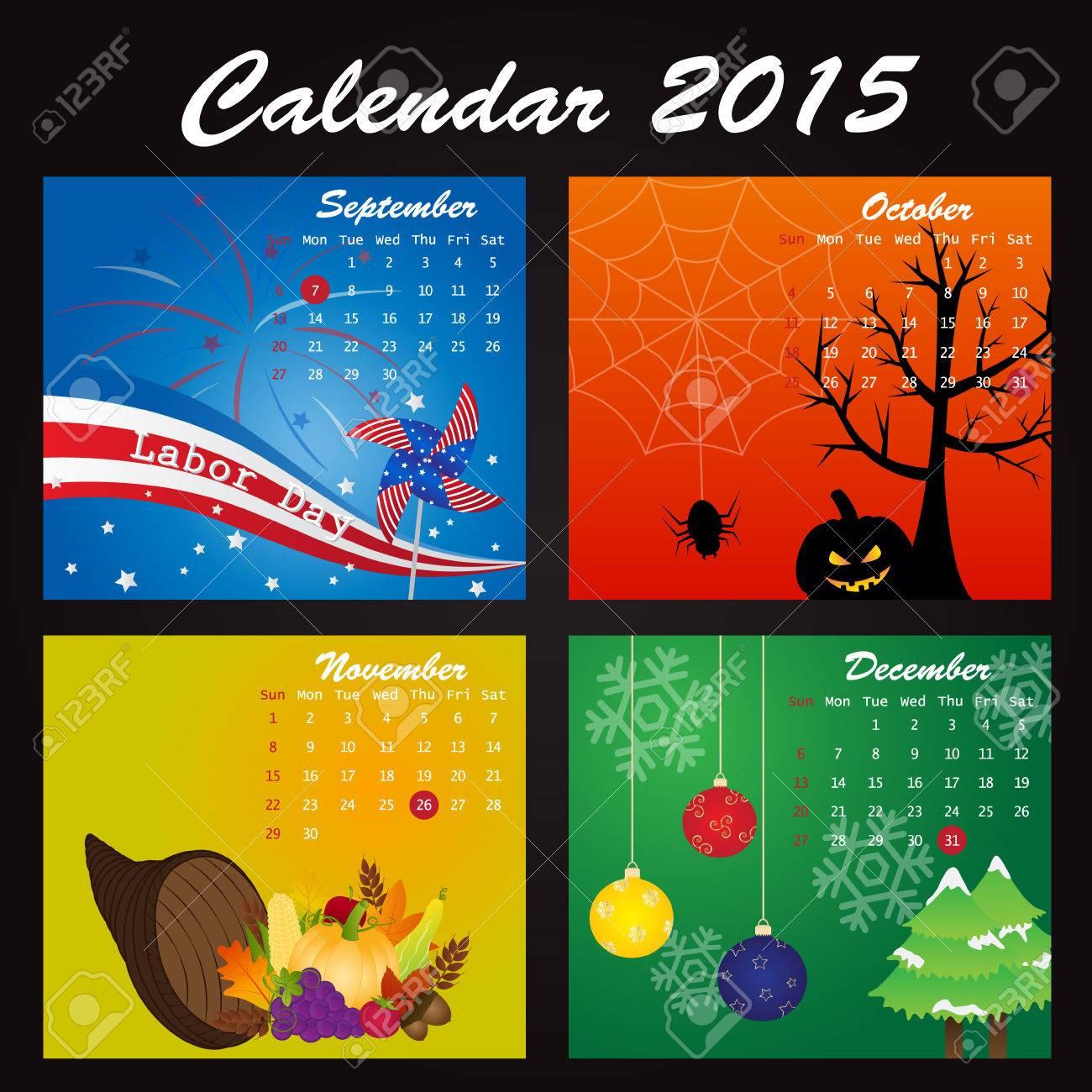 Holiday Calendar of 2015: September, October, November, December