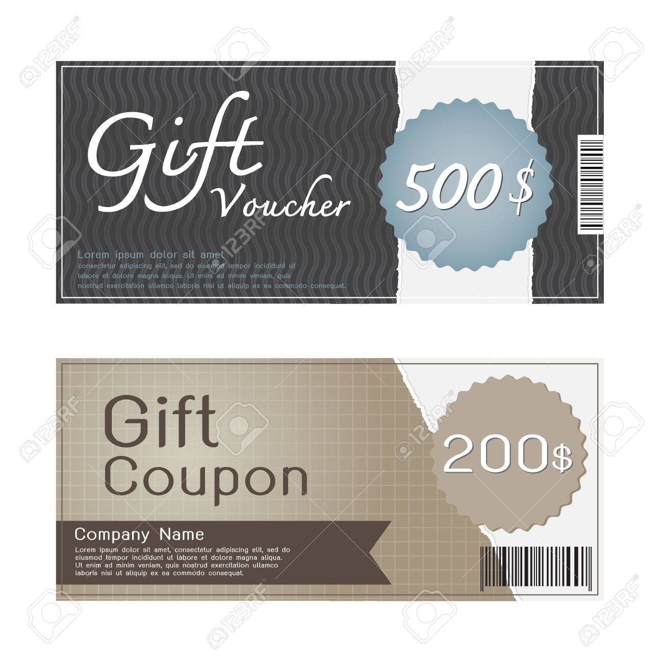 Gift Voucher And Coupon Templates Design Royalty Free Cliparts ...