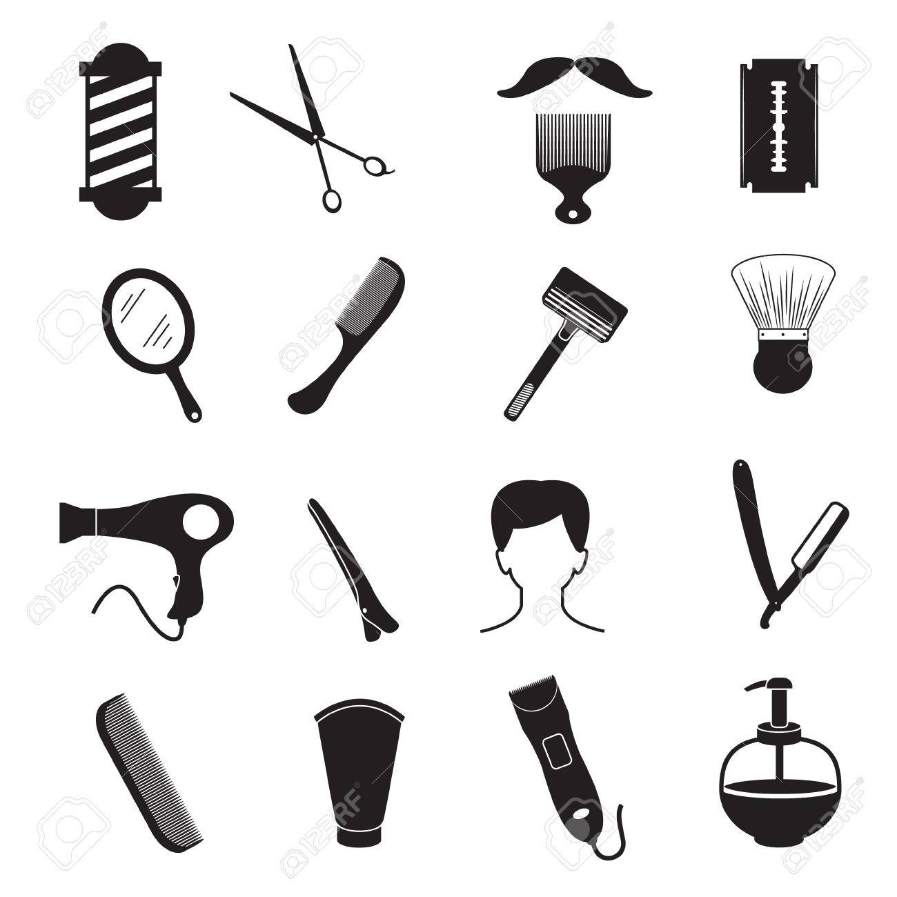 Barber Tools And Men Hairstyle Equipments Royalty Free Cliparts ...