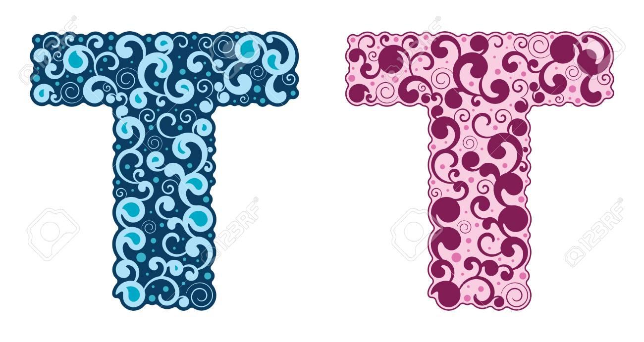 Curling alphabet. Letter T. Vector illustration. Eps 8 Stock Vector - 17853785