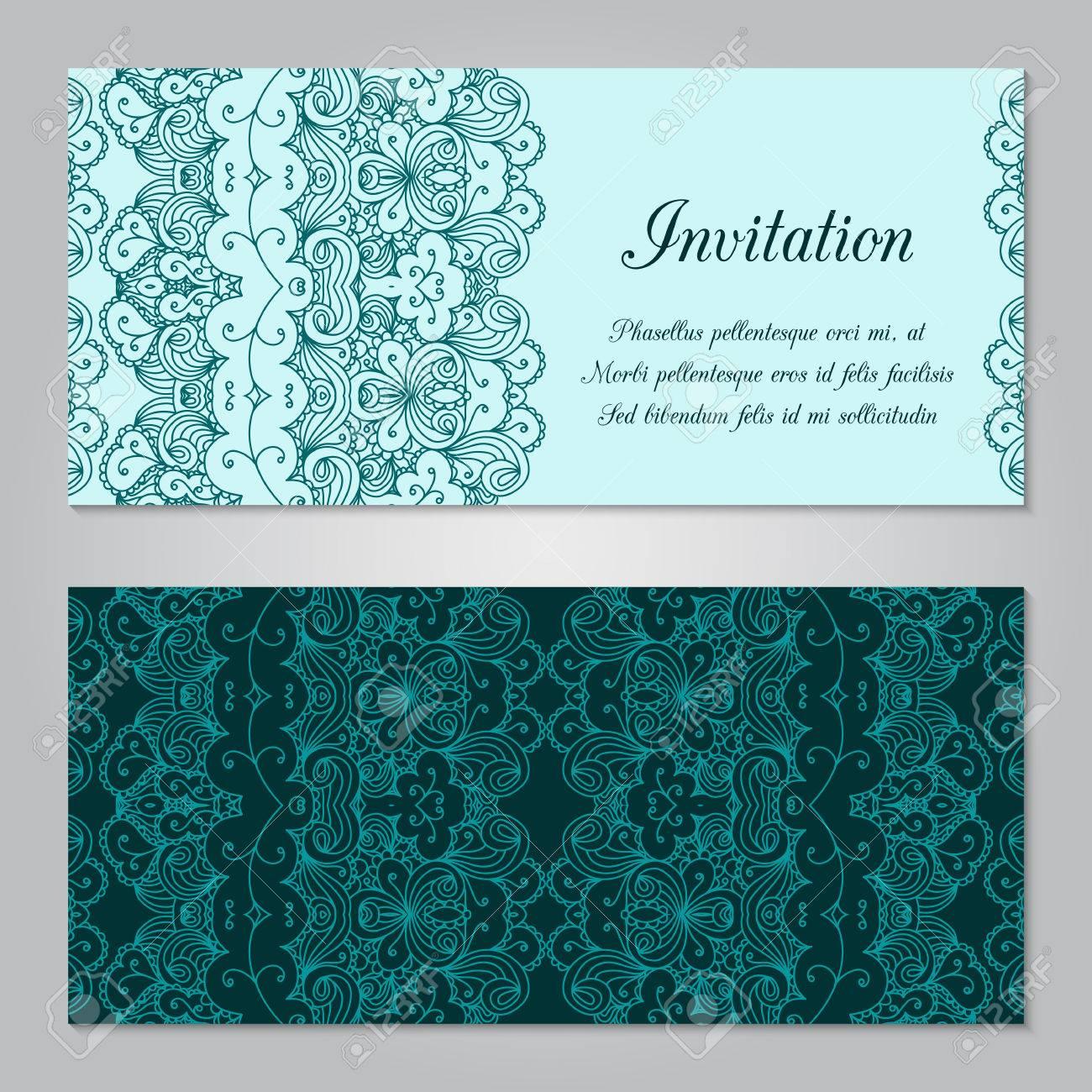 vintage-einladung mit spitze dekoration ornament. template schmuck, Einladung