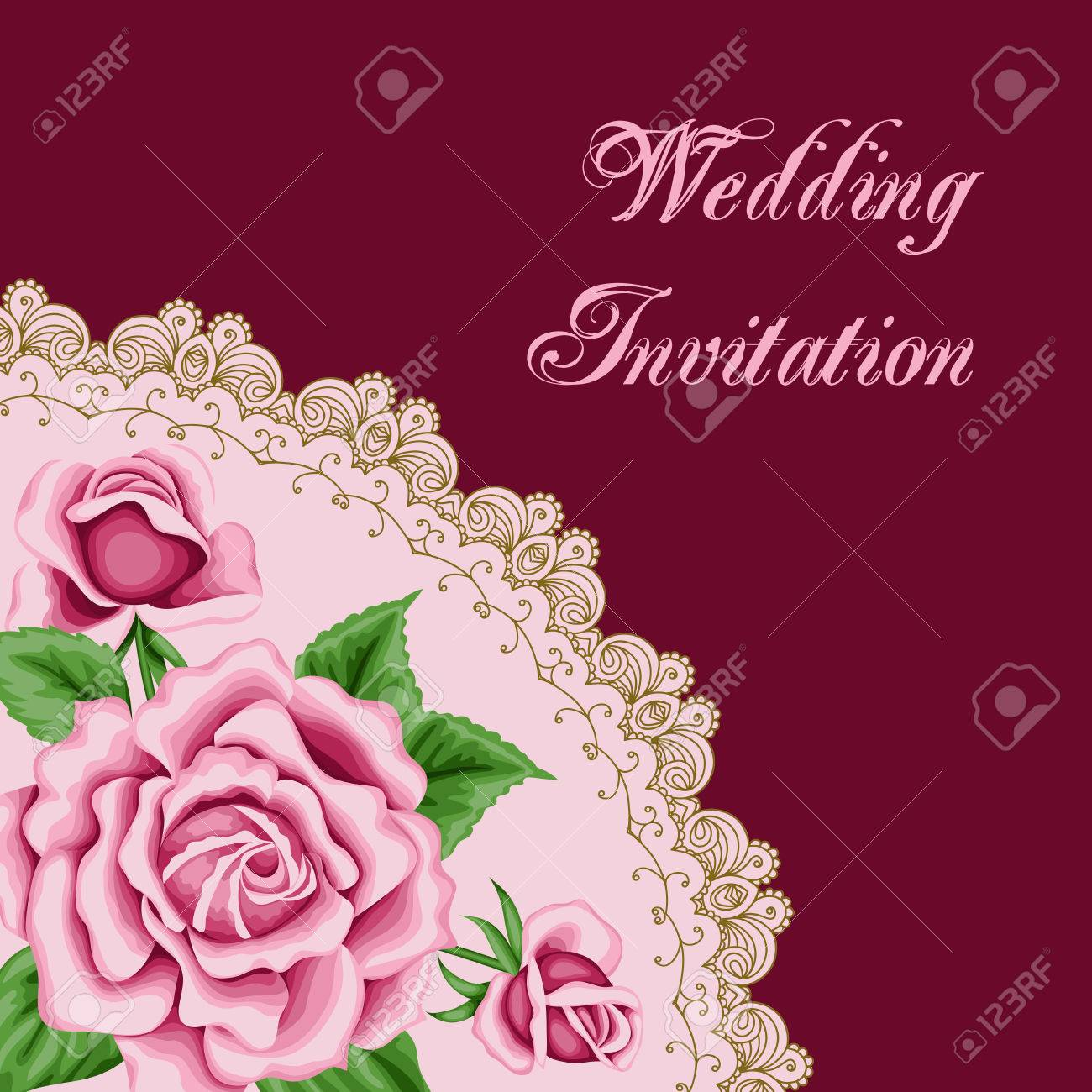 Vintage Wedding Invitation With Pink Roses And Lace Border. Save ...