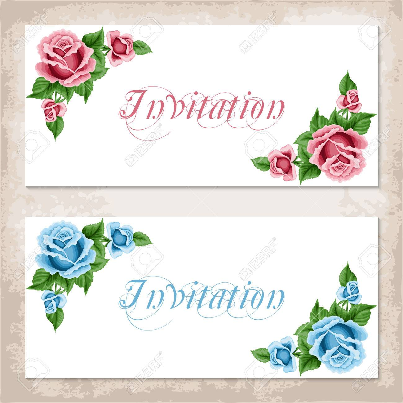 Vintage Invitation Template With Roses. Shabby Chic. Vector ...