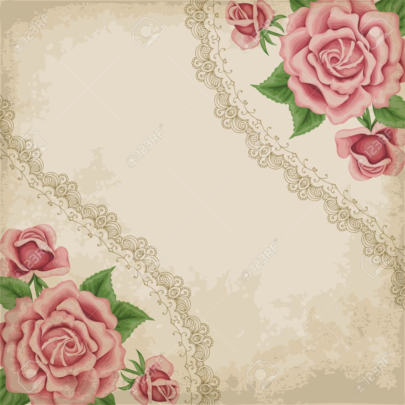 Retro Background With Colorful Roses Lace Border And Old Paper