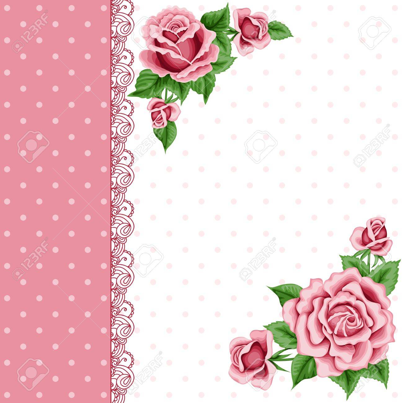 Vintage Flower Card With Colorful Roses And Lace Border Shabby Chic Vector Illustration Stock