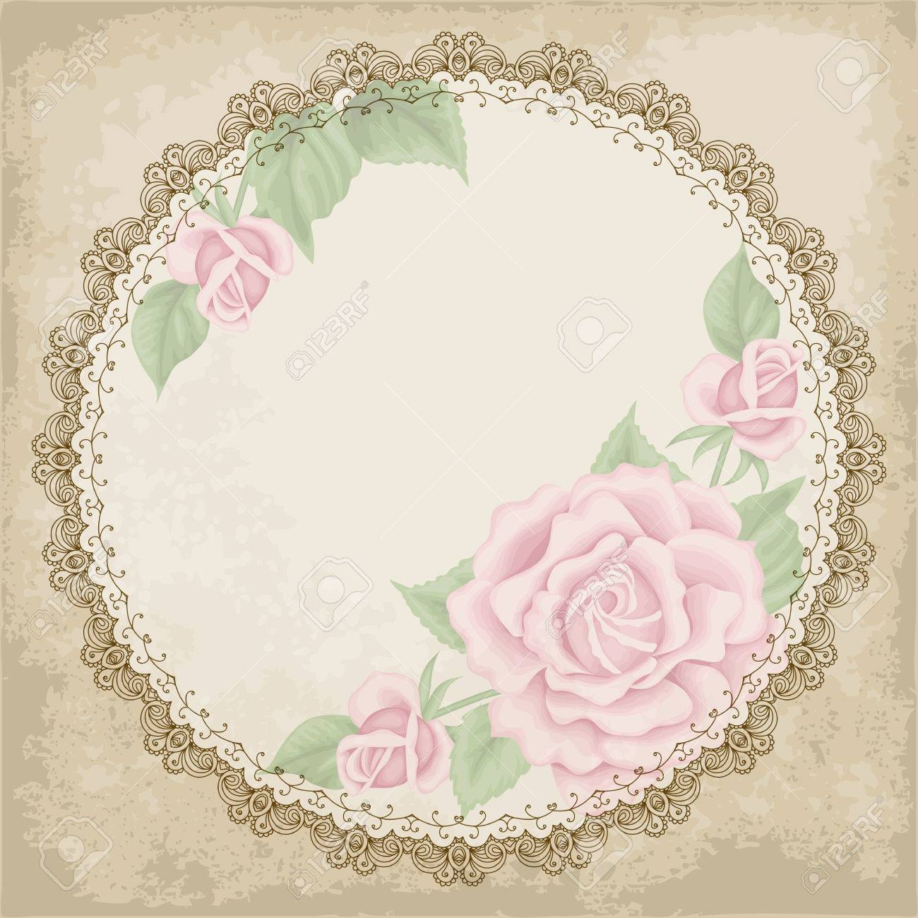 Retro Background With Colorful Roses Lace Border And Old Paper Shabby Chic Vector Illustration