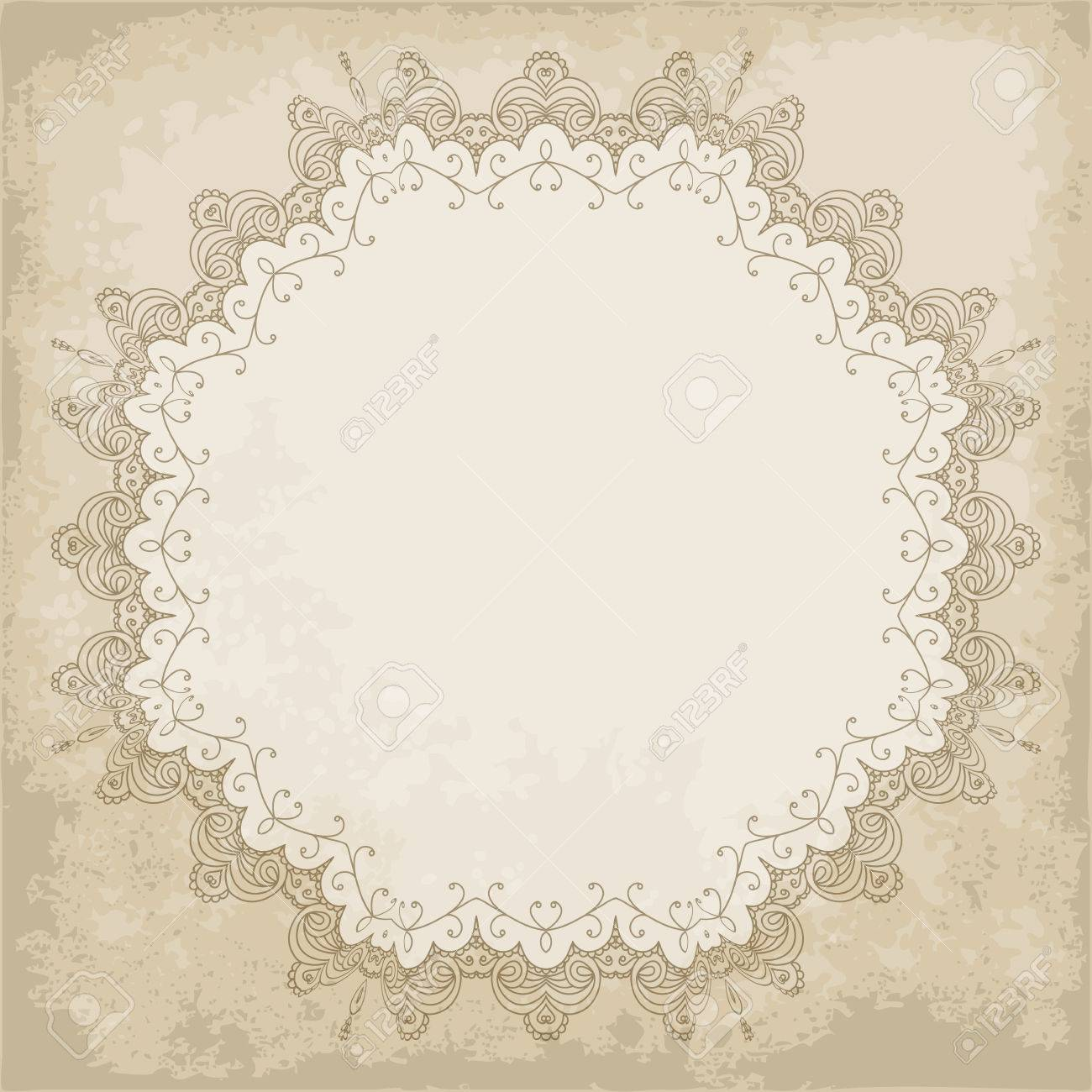 Retro Background With Hand Drawn Lace Frame On Old Paper Shabby Chic Vector Illustration