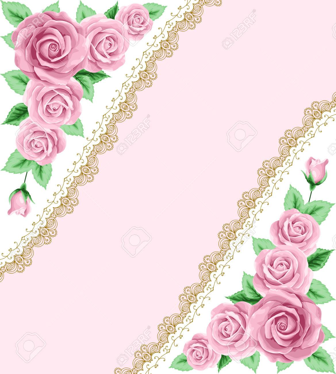 Vintage Frame With Roses And Lace Frame Place For Your Text