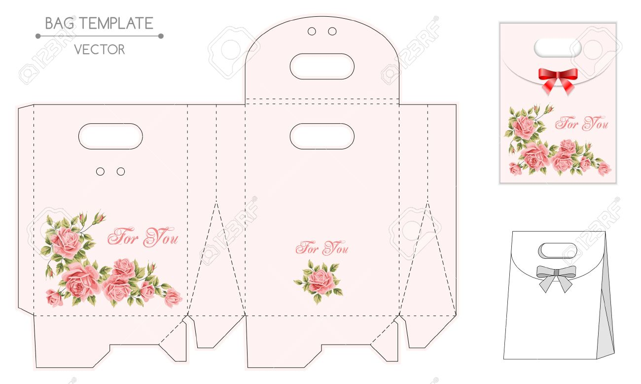 vector gift bag template with floral design die stamping royalty