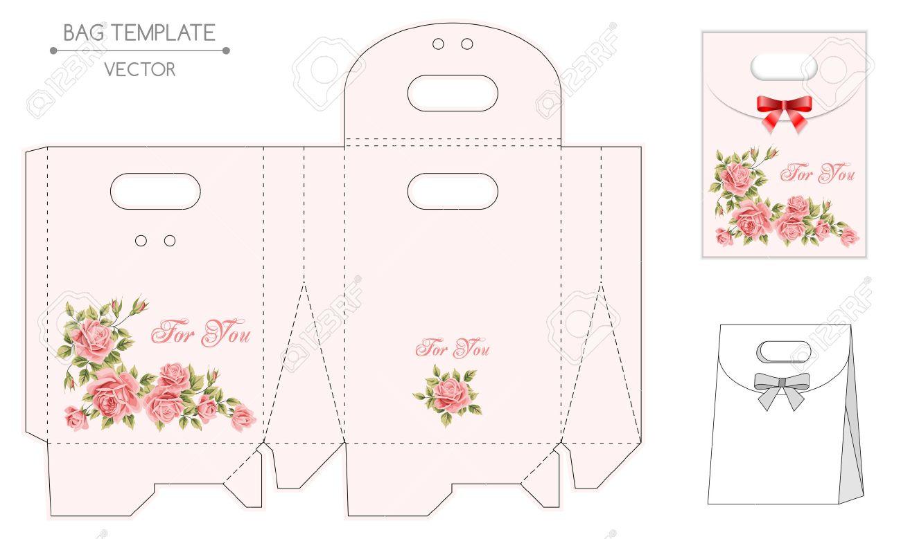 FloralEstampar De Plantilla Bolsa Con Diseño Regalo Vector 35F1uTcKlJ