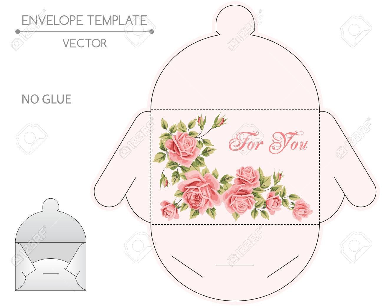 Vector Plantilla De Sobre Con Diseño Floral. Estampar Ilustraciones ...