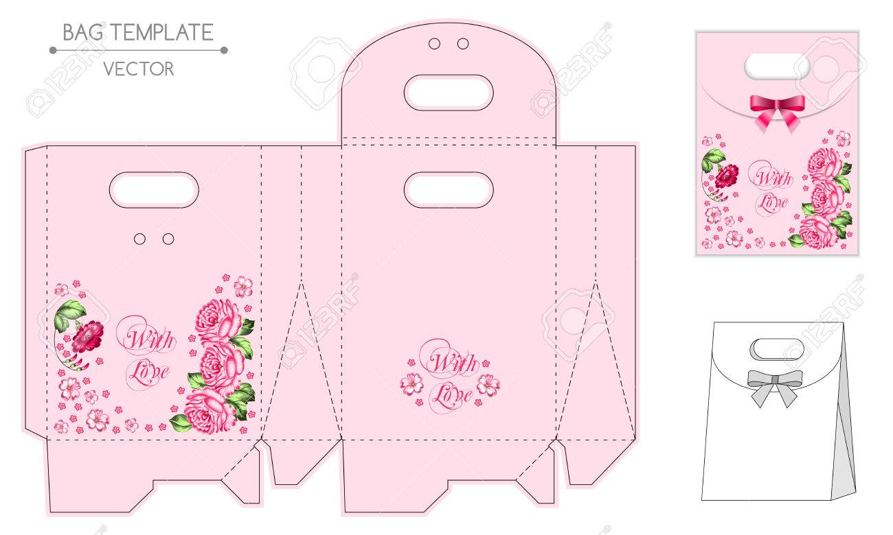 gift bag design die stamping vector template russian style
