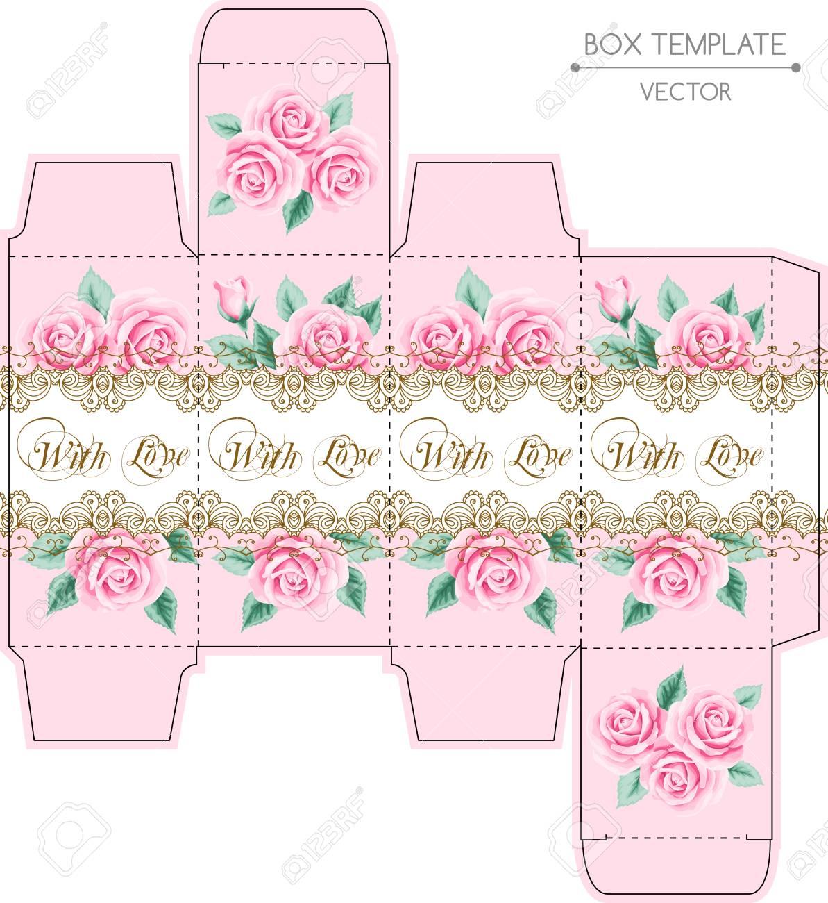 Diseño De La Caja De La Vendimia Con Las Rosas Y El Marco De Encaje ...