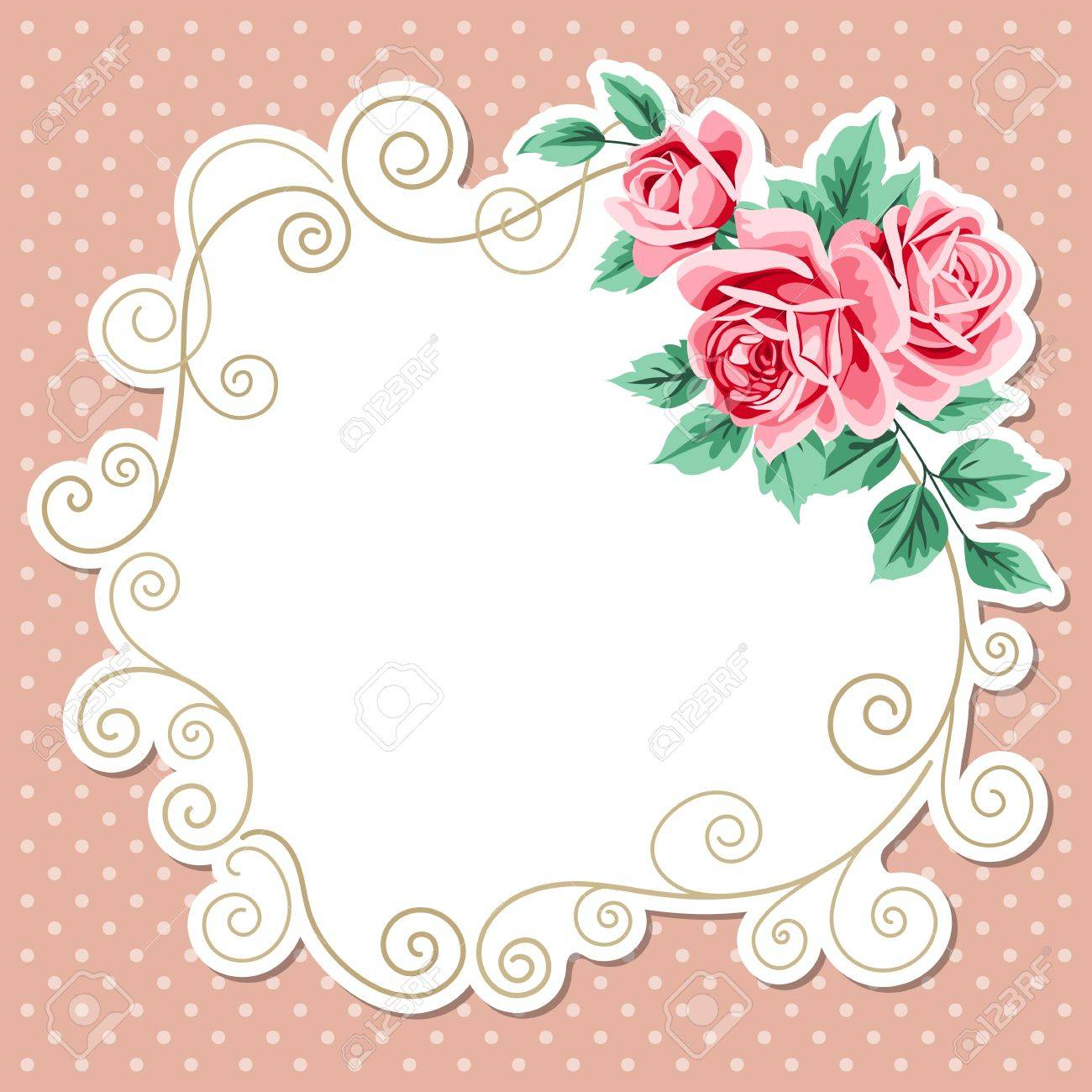 Polka Dot Background With Hand Draw Floral Wreath Vintage Roses Shabby Chic Vector Illustration