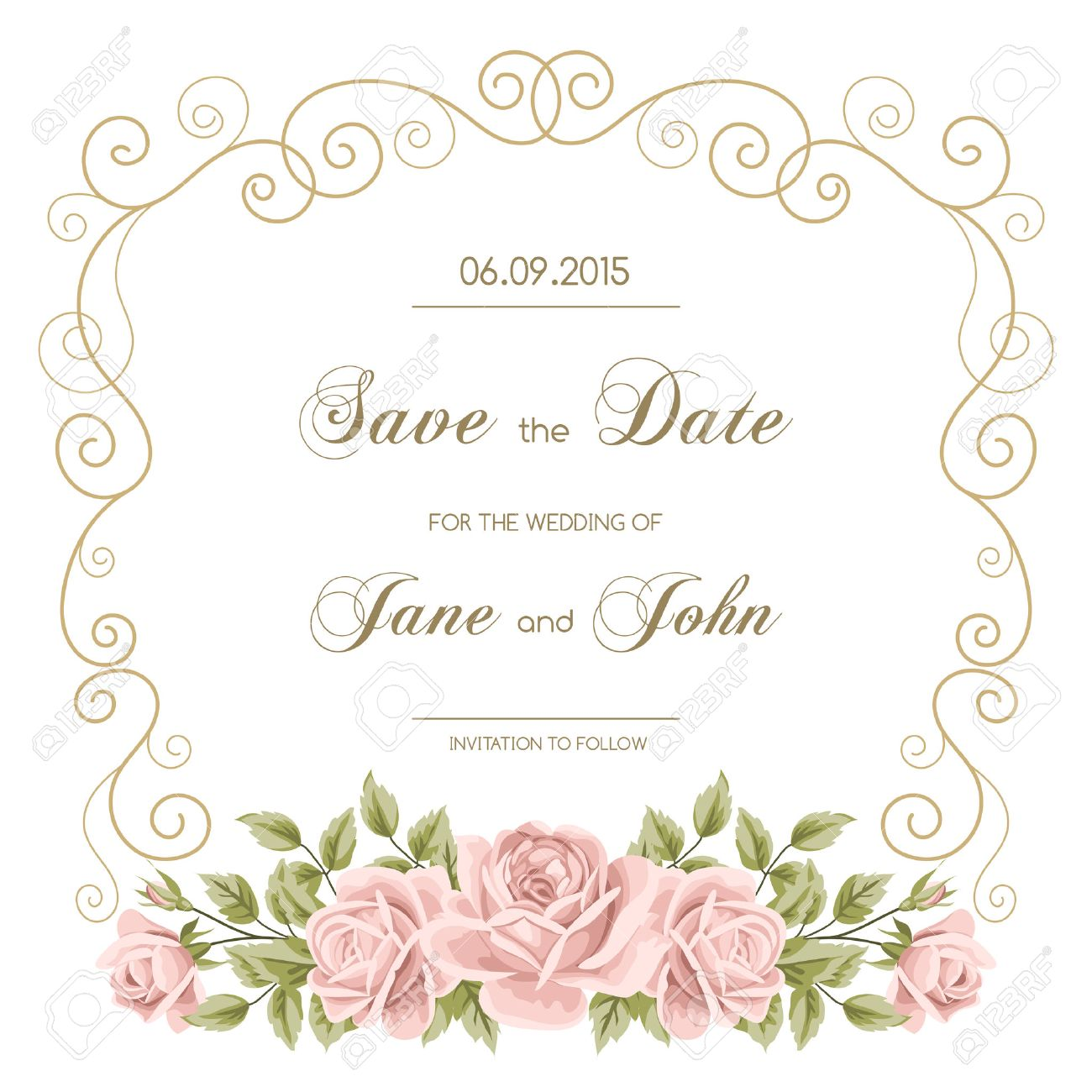 vector vintage wedding invitation with roses invitation template with gold curling frame save the date design vector illustration