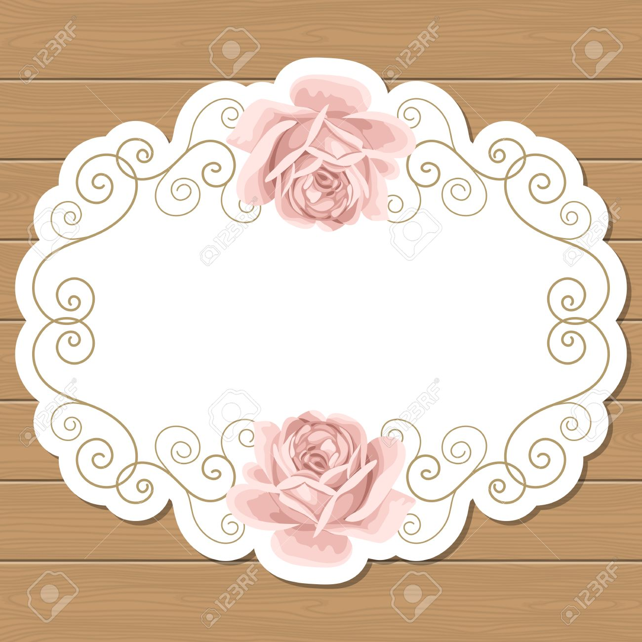 Wood Background With Hand Draw Roses And Gold Curly Oval Frame Shabby Chic Vector Illustration