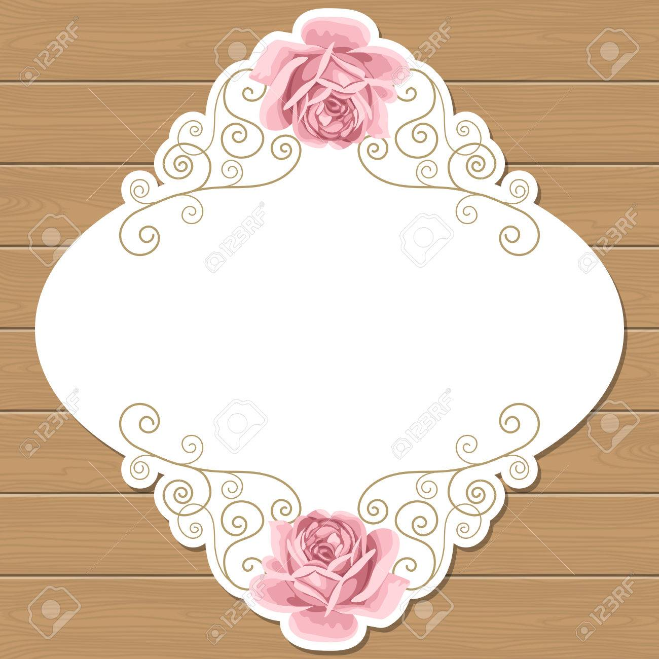 Wood Background With Hand Draw Roses And Gold Curly Oval Frame ...