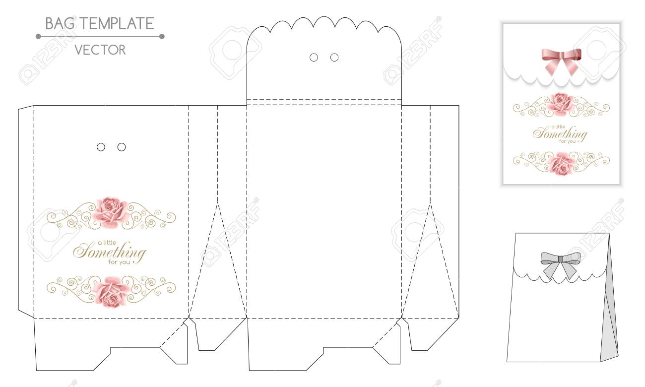 Gift Bag Template With Hand Drawn Roses And Curly Design Elements