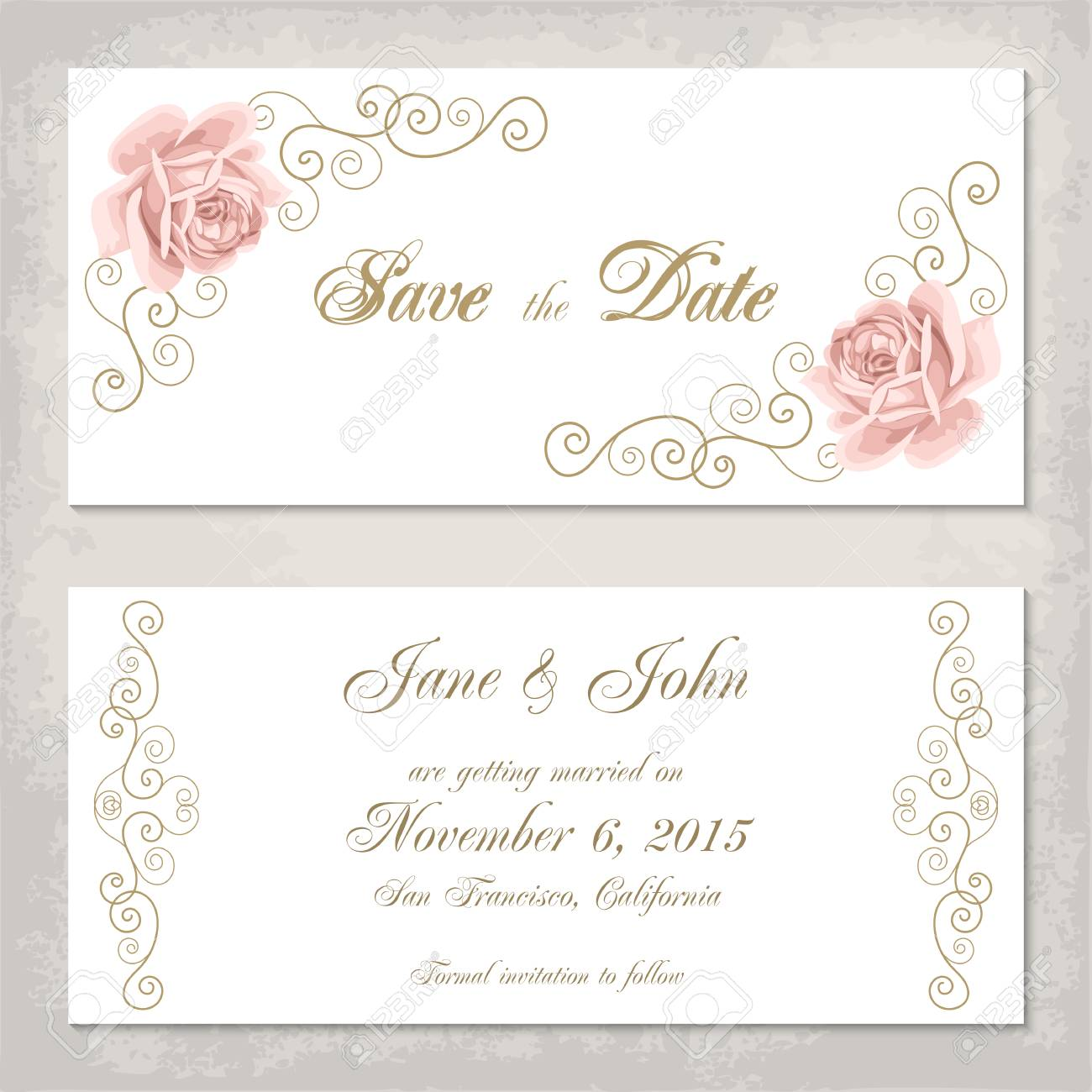 vintage invitation template with roses and golden curly design