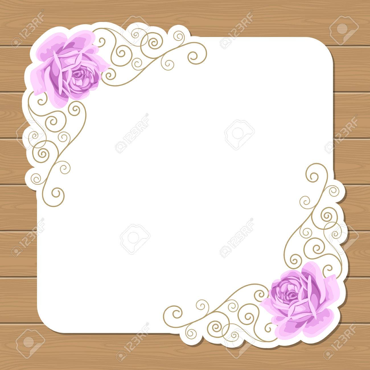 Wood Background With Hand Draw Roses And Gold Curly Frame. Shabby ...
