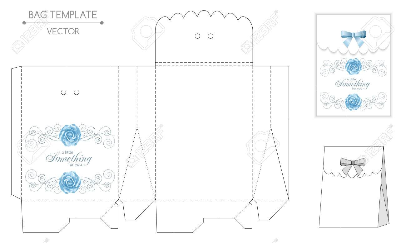 Gift Bag Template With Hand Drawn Roses And Curly Design Elements ...