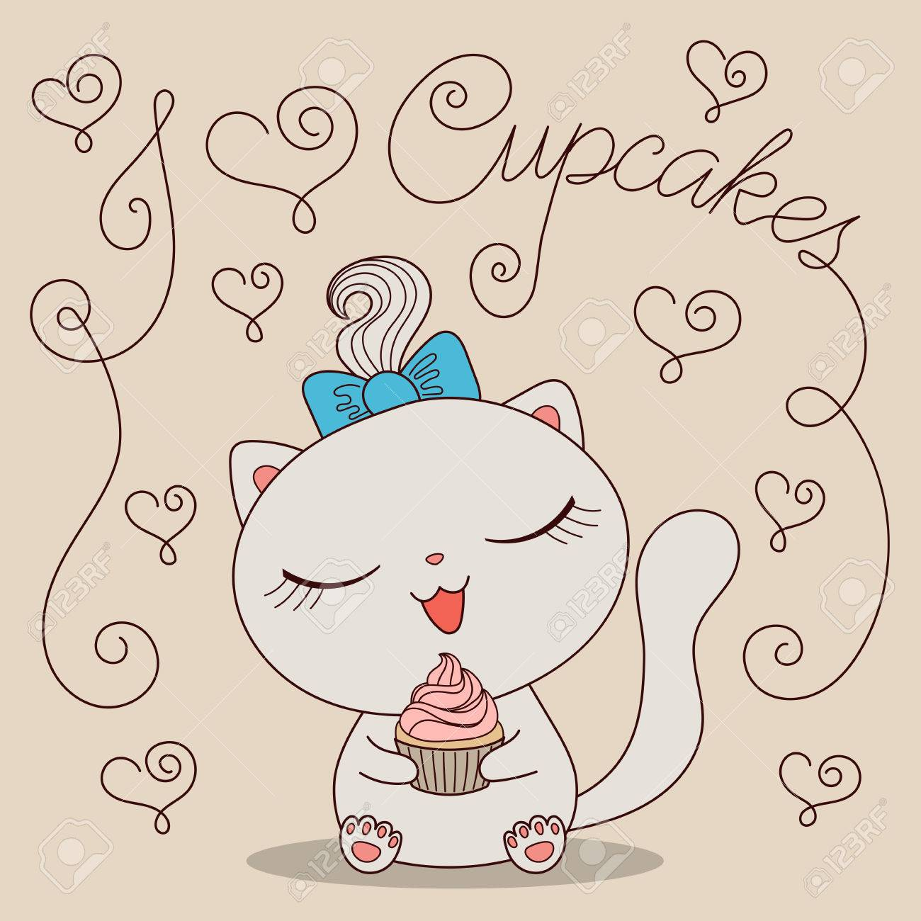 Cute Cartoon Cat With Cupcake And Text I Love Cupcakes Hand