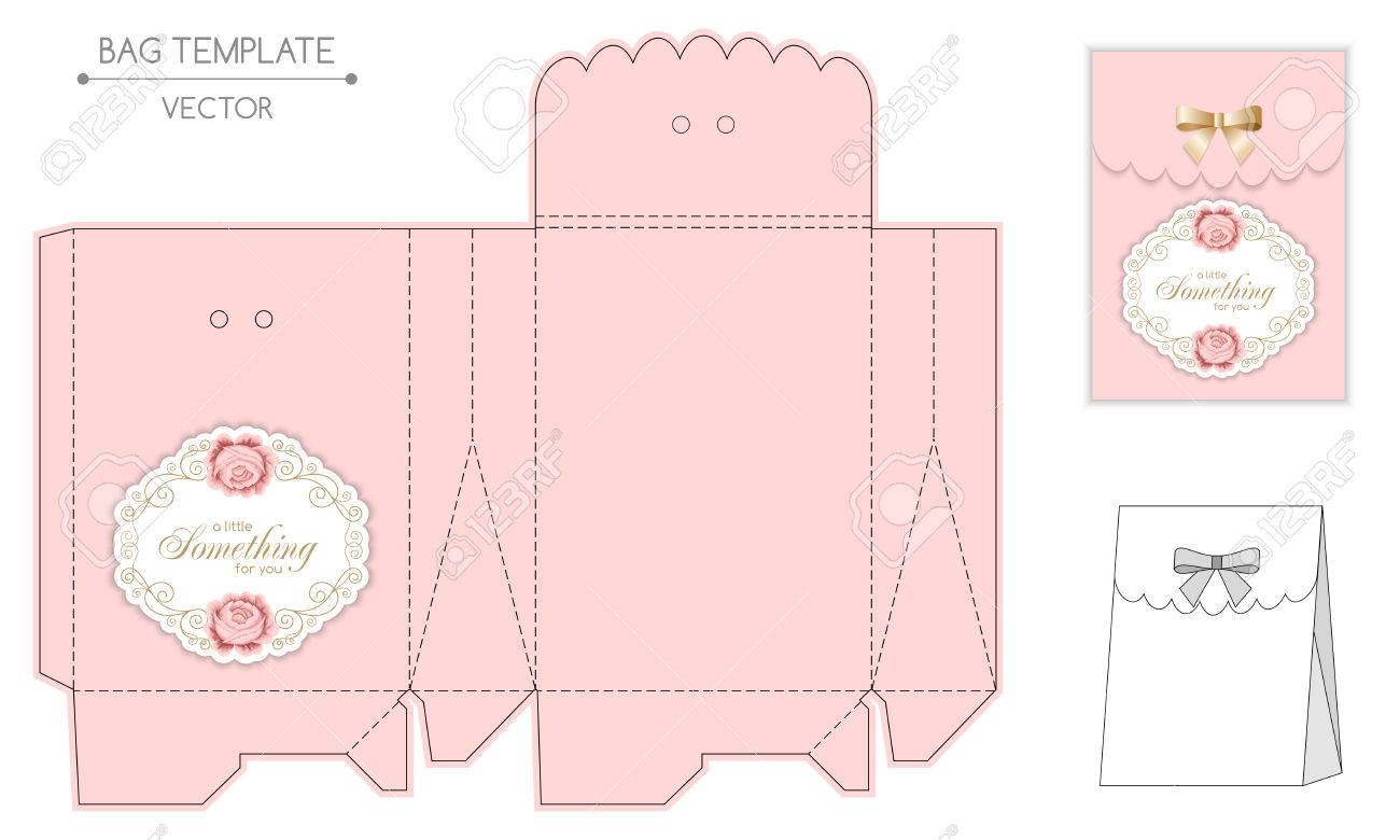 Gift bag template with hand drawn roses and curly design elements gift bag template with hand drawn roses and curly design elements in retro style die maxwellsz