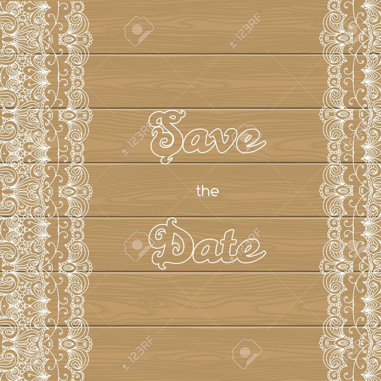 Vintage Hochzeitseinladung Mit Spitzenbordure Holz Hintergrund