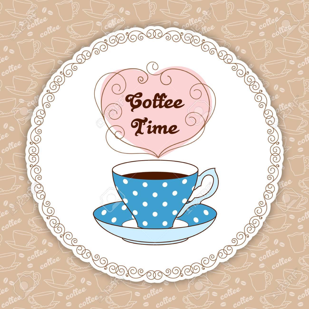 Ilustración De Polka Dot Lindo Taza De Té Con Café O Té. La Hora Del ...
