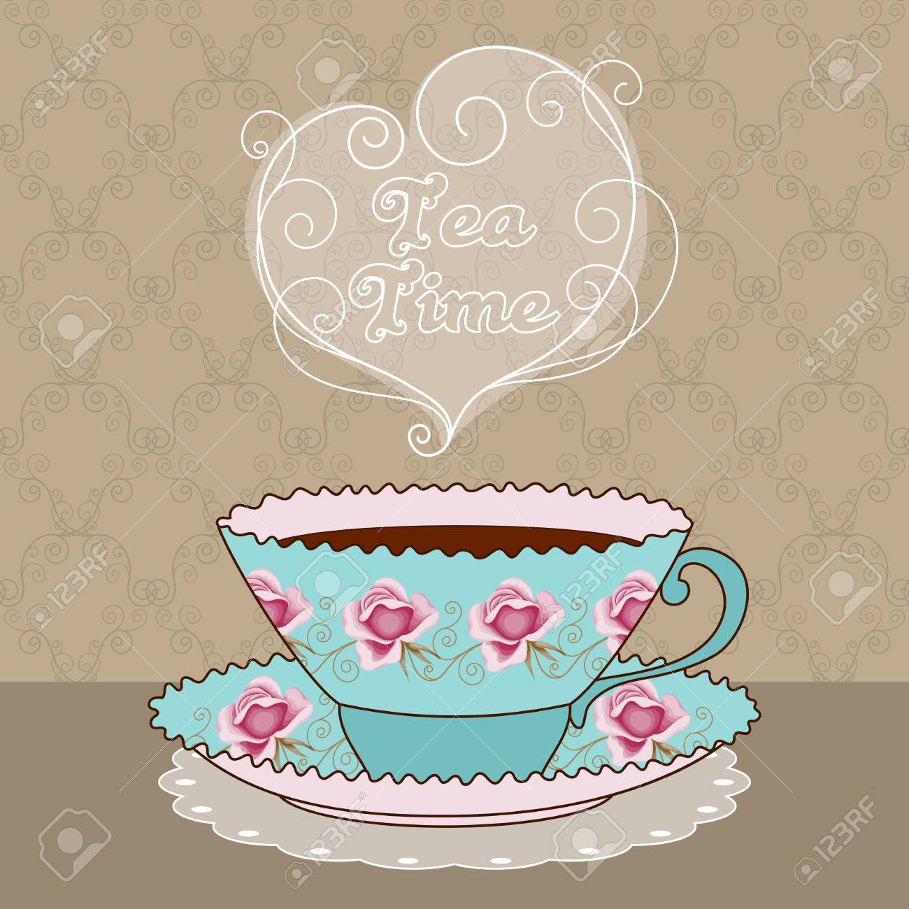 Illustration Of Vintage Tea Cup With Coffee Or Tea. Tea Time ...