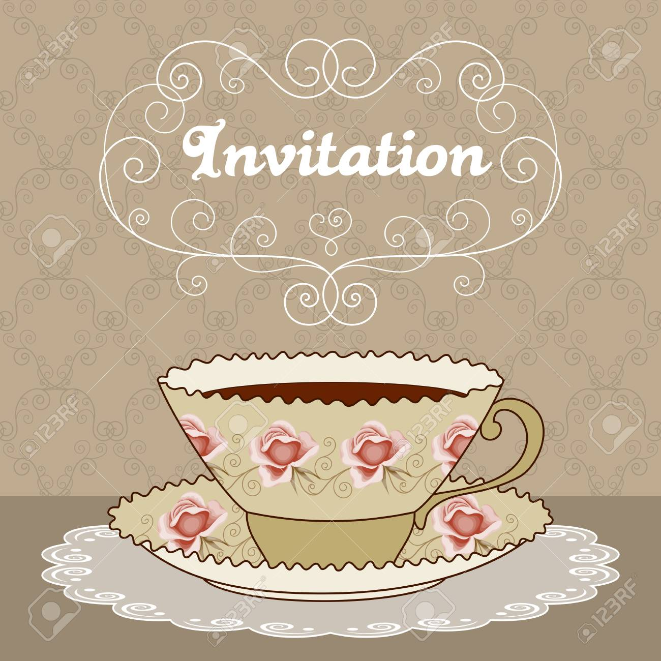Illustration Of Vintage Tea Cup With Coffee Or Tea And Curly