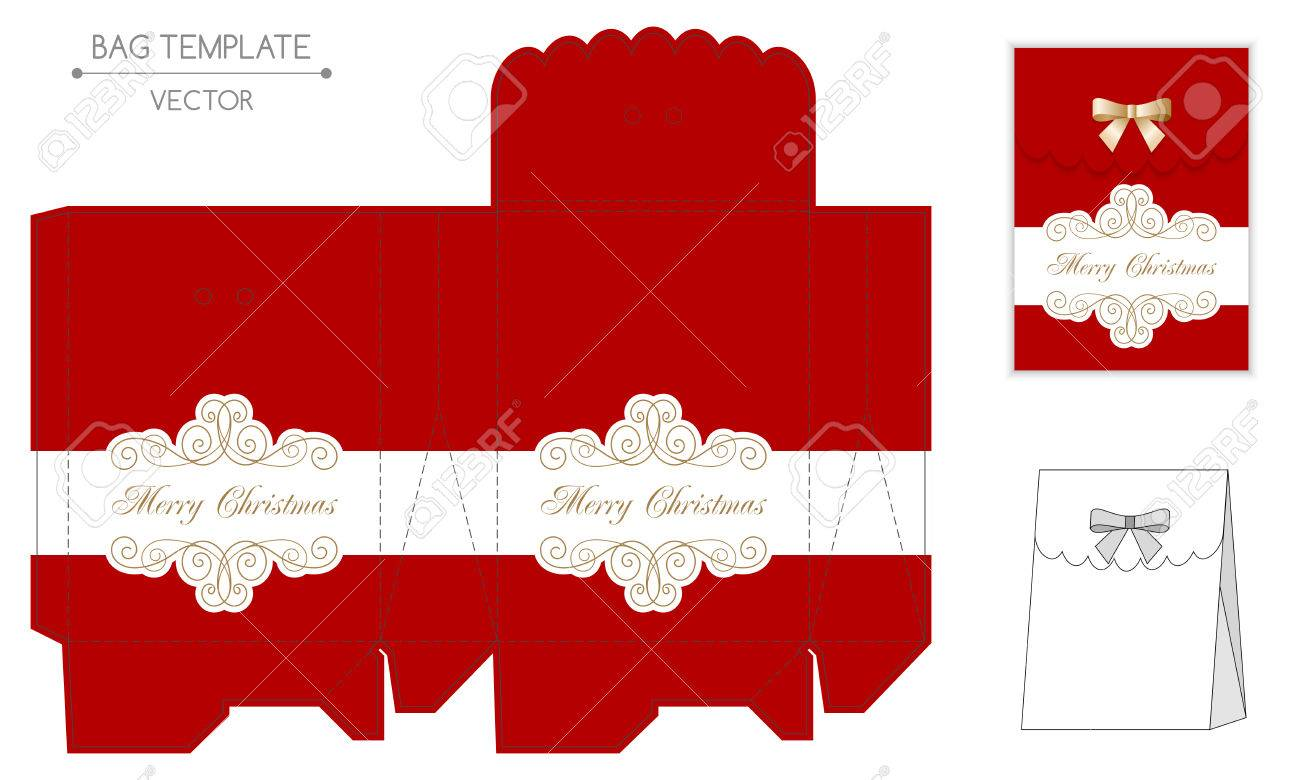 Christmas Gift Bag Design Die Cut Vector Illustration Stock