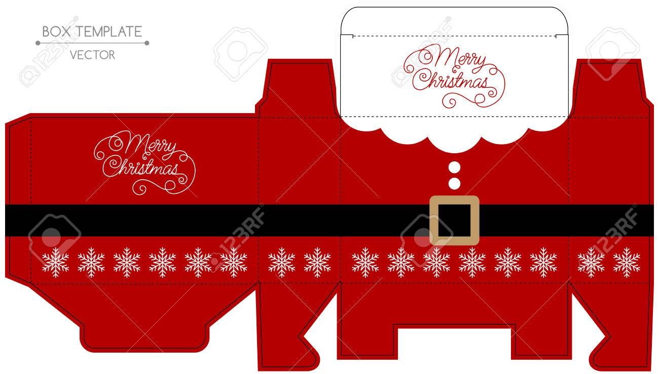 Christmas Gift Box Template.Christmas Gift Box Design Die Cut Christmas Illustration