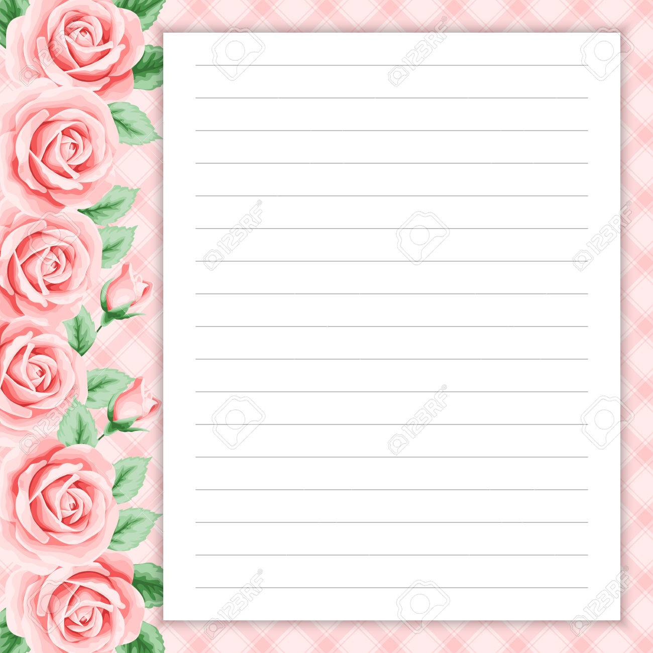 lined page for notes design in retro style floral background